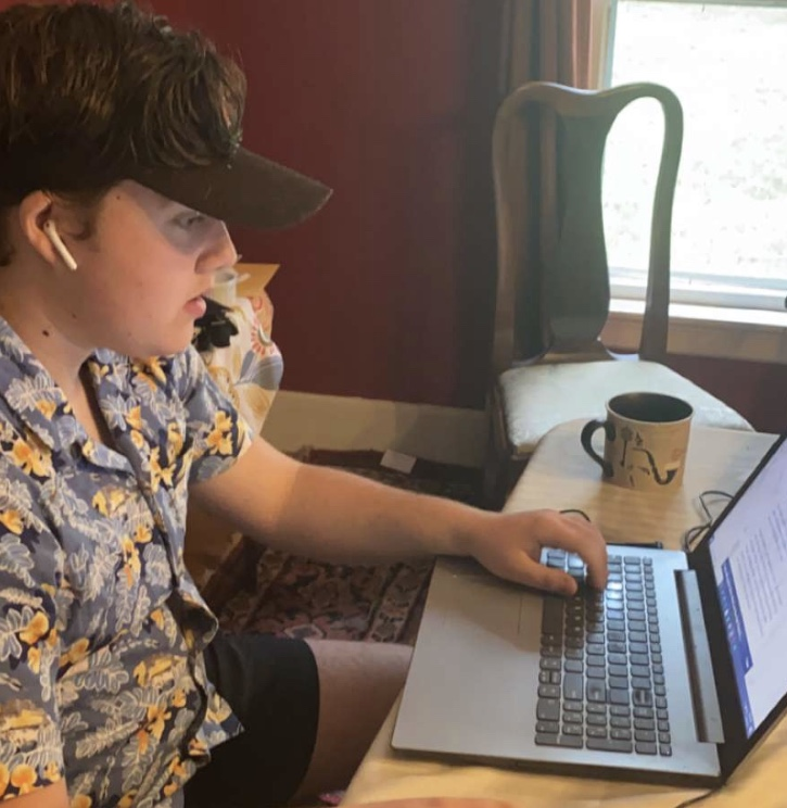 Ian Mcnabb '21 working on his senior quest project from home. Even though the process has changed due to quarantine, he is still glad he did a senior quest project this year.