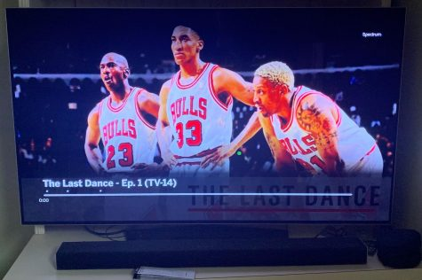 "Michael Jordan, Scottie Pippen, and Dennis Rodman grace the cover of ""The Last Dance"". Entertainment writer Jason Fraley says ""36 years after first stepping on the court for the Chicago Bulls, His Airness remains the king as ESPN's new 10-part documentary ""The Last Dance"" broke ratings records with its first two episodes."""