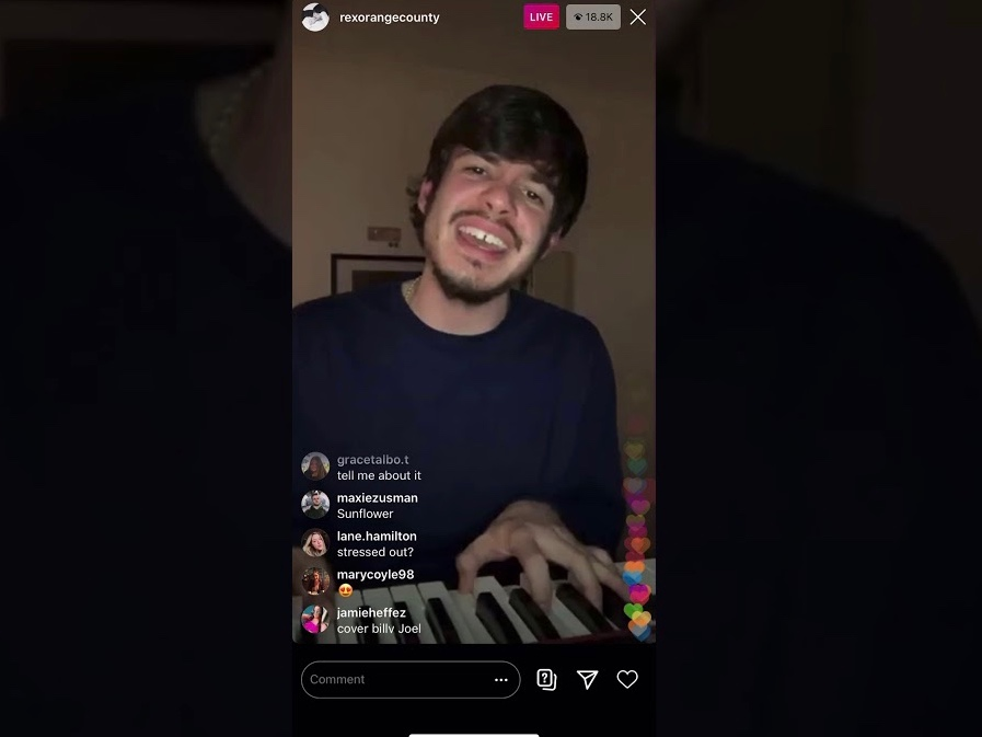 "Rex Orange County plays piano for over eighteen-thousand viewers on his livestream. He tweeted after a livestream, ""I love you all so much. Thank you for allowing me to do what I do for a living. I'll never let you down."" He is grateful to be able to put out his music even in a time like this."