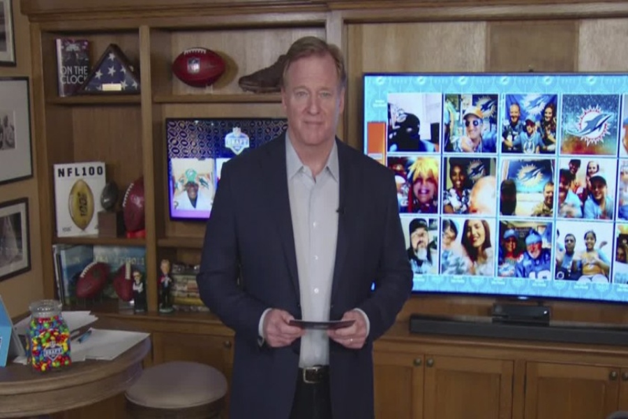"Goodell in his own home, presenting each team's draft pick while interacting with fans digitally. This is the first time a draft for any major sporting event has been held virtually and with cameras into each player's homes when drafted. ""I watch the draft every year with my friends, and even if it was just a FaceTime it was nice to feel like everything was almost usual again"", said Joey Oetjens '21."