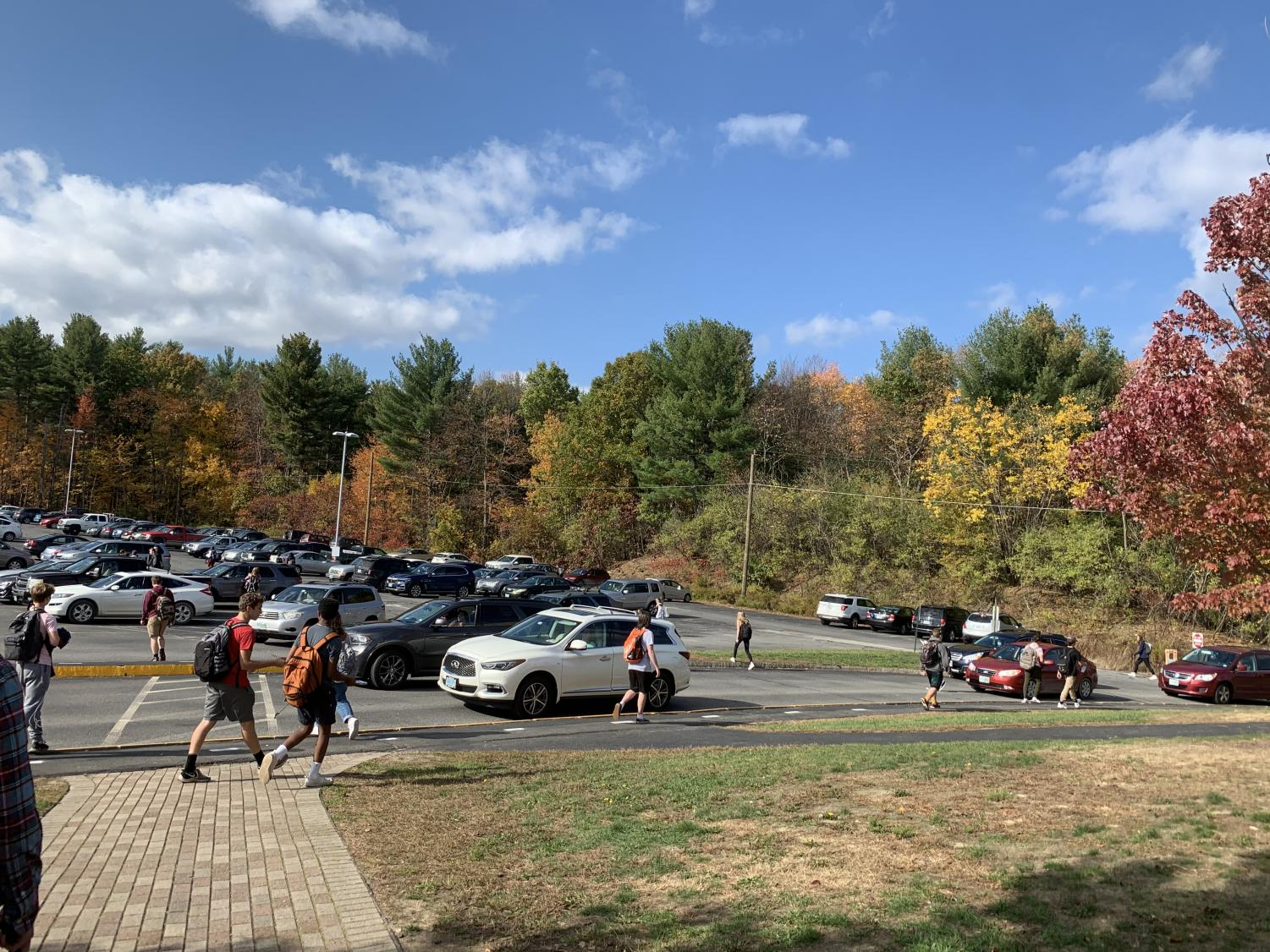 Upperclassmen rush out of schools to the parking lot to leave during Cavblock at the end of the day. Having the opportunity to leave early cuts the number of students in the building down greatly, which provides a safer environment for students in the building due to new COVID-19 guidelines.