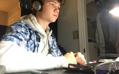 William Bird 22' in a live zoom remote class at his home workspace.