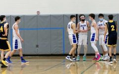 """Pictured Left to Right, Matt Dias '21, Adam Razzaboni '21, Blake Bergerson '21, Kaleb Popham '23, and Robby Haytayan '21,  in their last regular season game against Conval. Brian Szewczyk, not pictured, was thrilled to play with teammates that had such a good bond, """" It's going to be hard to leave these guys but I'm sure we will all keep in touch and have the same chemistry that we had during the season."""""""