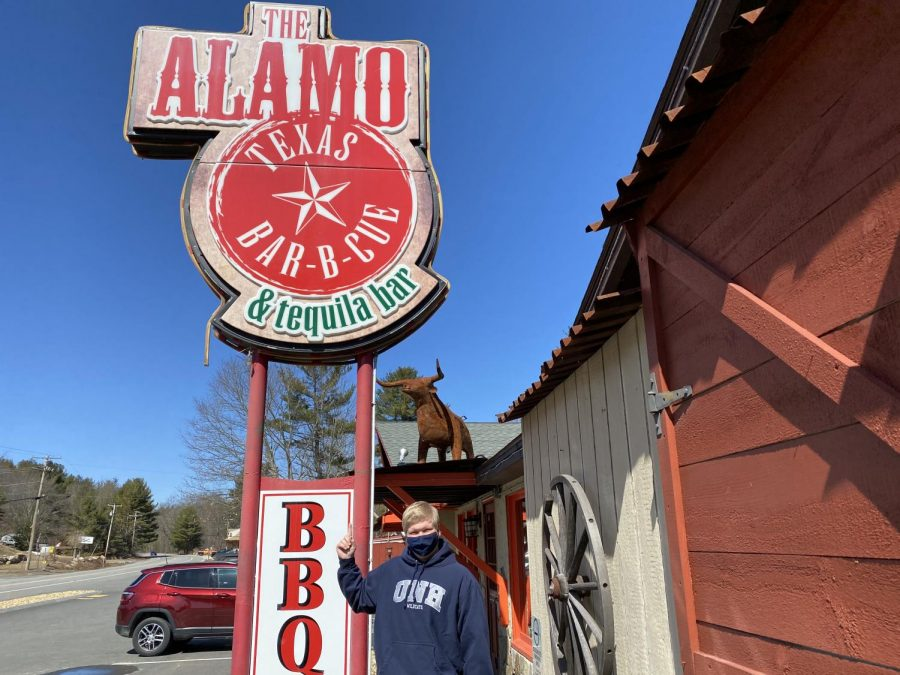Hollis Brookline senior Josh Parr '21 supports local businesses by visiting The Alamo BBQ & Tequila Bar in Brookline, NH.