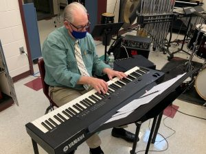 """Hazzard plays a modulation on the """"Birdland"""" chord progression after class. The song brings back many fond memories for him as he can remember when it came out and how it pushed the boundaries at the time. """"I'm really looking forward to playing with him this year"""", said Justin Surette '21."""