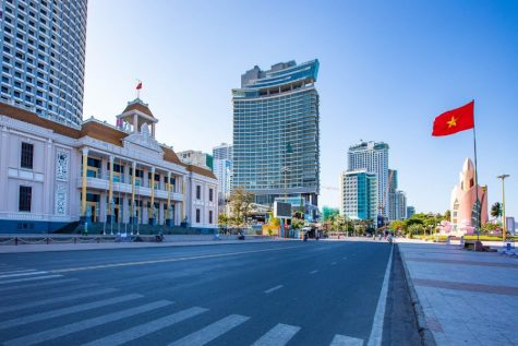 "An almost emptied street in one of Vietnam's tourist hubs, Nha Trang, located around 275 miles from Ho Chi Minh City (formerly Saigon). In 2018, Nha Trang welcomed over 6.3 million tourists. ""The motto is, let's take action one step earlier. Correct and early action will prevent losses in life and health…"" said one of Vietnam's Deputy Prime Ministers, Vũ Đức Đam."