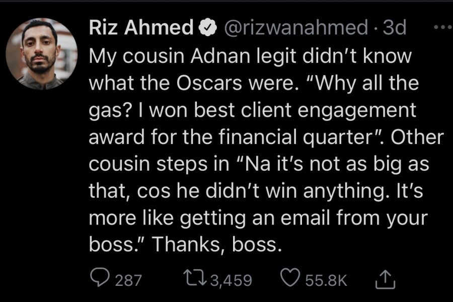 A tweet from Oscar-nominated actor Riz Ahmed about his family's reaction to his nomination. The nominations were announced on Monday, March 15th.